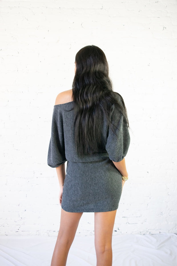 Came Here For Love Dress Charcoal