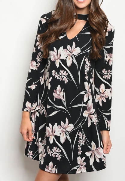 Whispers Dress Black Floral - Shellsea