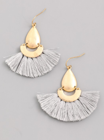 Half Moon Fringe Dangle Earrings - Shellsea