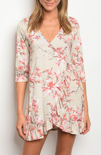 Tropic Fever Wrap Dress Taupe/Coral - Shellsea
