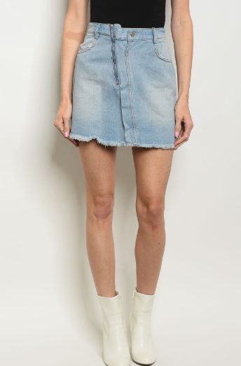 Fray Of Sunshine Denim Skirt - Shellsea