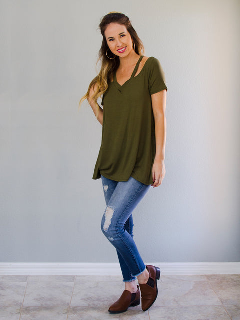 Cold Shoulder Top Olive - Shellsea