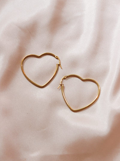 Kiss Me Heart Earrings Gold - Shellsea