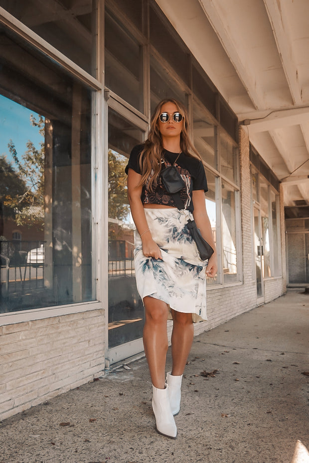 For The Frills Tie Dye Midi Skirt Black Ivory