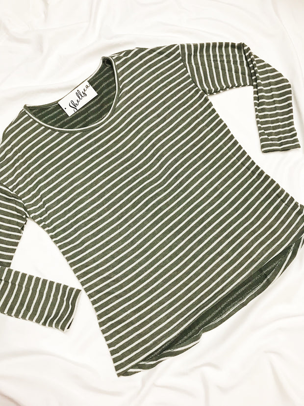 All Day Everyday Striped Top Olive - Shellsea