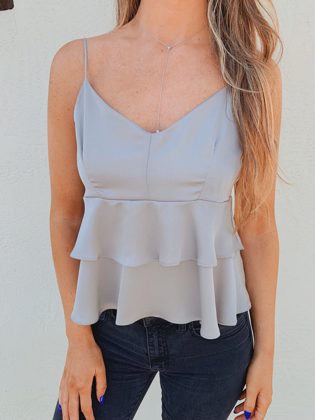 Airy Image Tank Top Grey