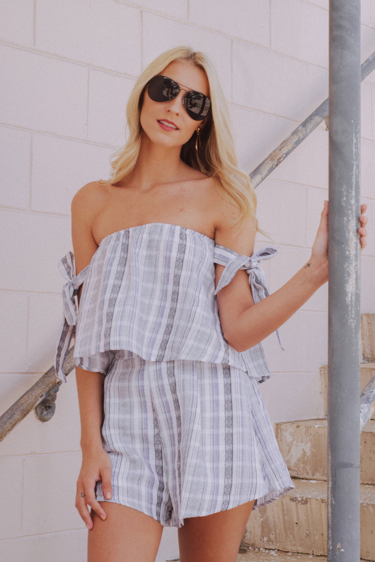 Hot Stuff Striped Romper Blue