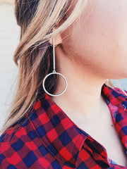 Circle Drop Earrings Silver - Shellsea