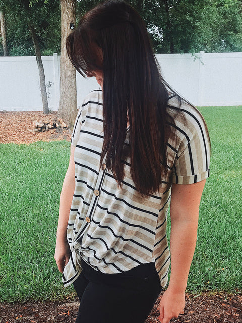 Everyday Stripe Button up Top - Shellsea
