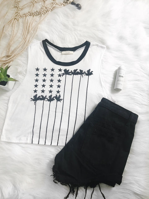 Stars and Palms Tank Top White