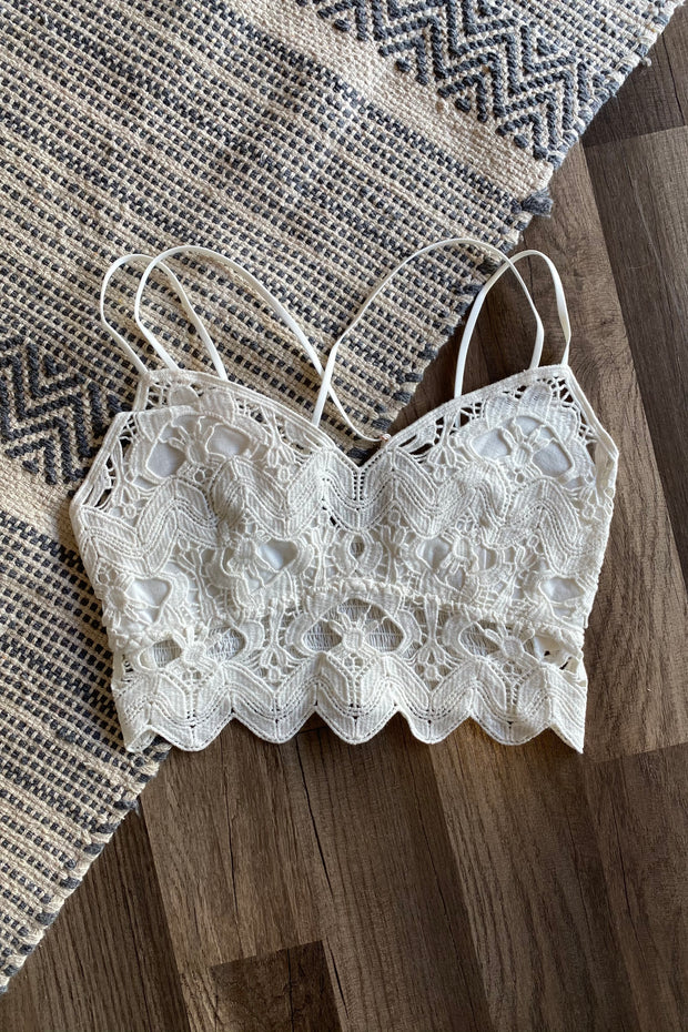 A Bit of Boho Crochet Bralette White