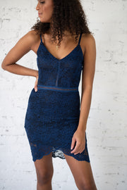 Say It To My Lace Dress Navy