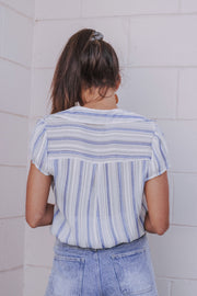 Skip The Song Striped Top Blue