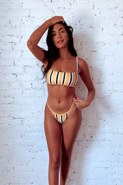 Swim My Way Striped Bikini Bottoms Yellow
