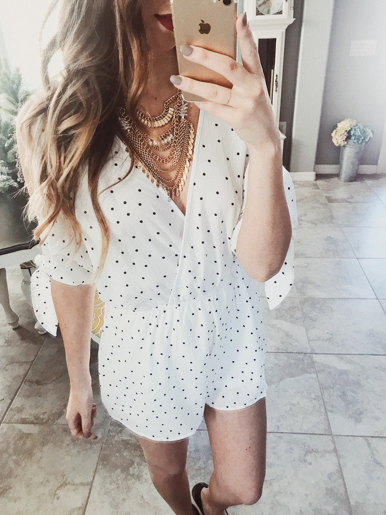 Celebrity Spotted Romper White/Black - Shellsea