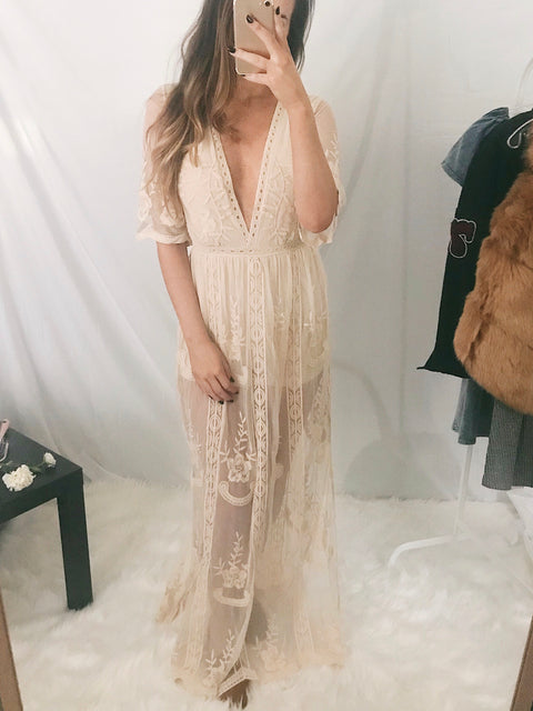 Gypsy Wanderer Lace Maxi Dress