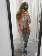 Invested In You Hooded Vest Blush