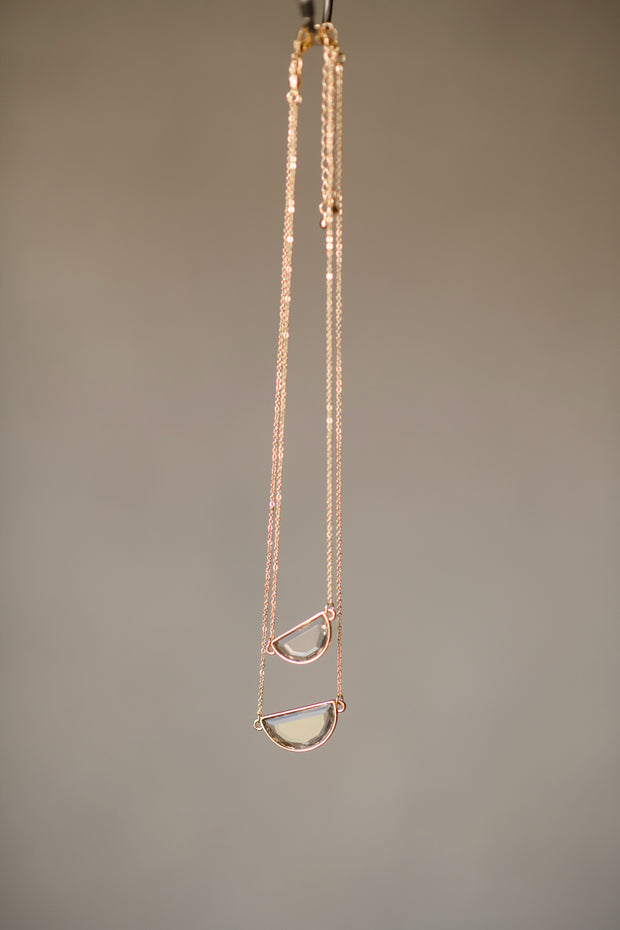 Layered Semicircle Pendant Necklace