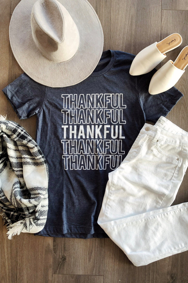 Thankful Graphic Tee Navy