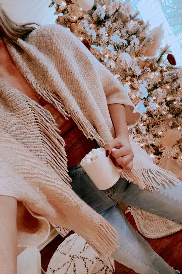 By The Fireside Knit Shawl Ivory