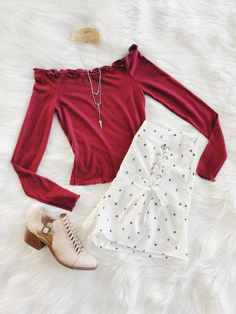 Something Says Yes Off Shoulder Top Burgundy