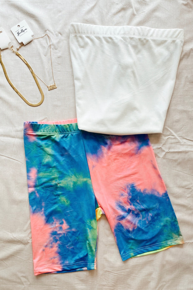 Pretty Lies Tie Dye Biker Shorts Blue