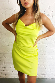 Satin Fever Cowl Neck Dress Lime