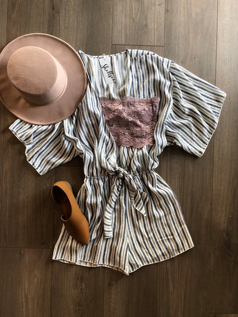 Lively Vibe Striped Romper - Shellsea