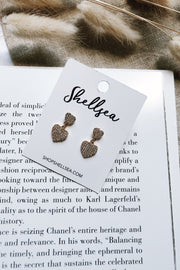 Mini Studded Heart Drop Earrings