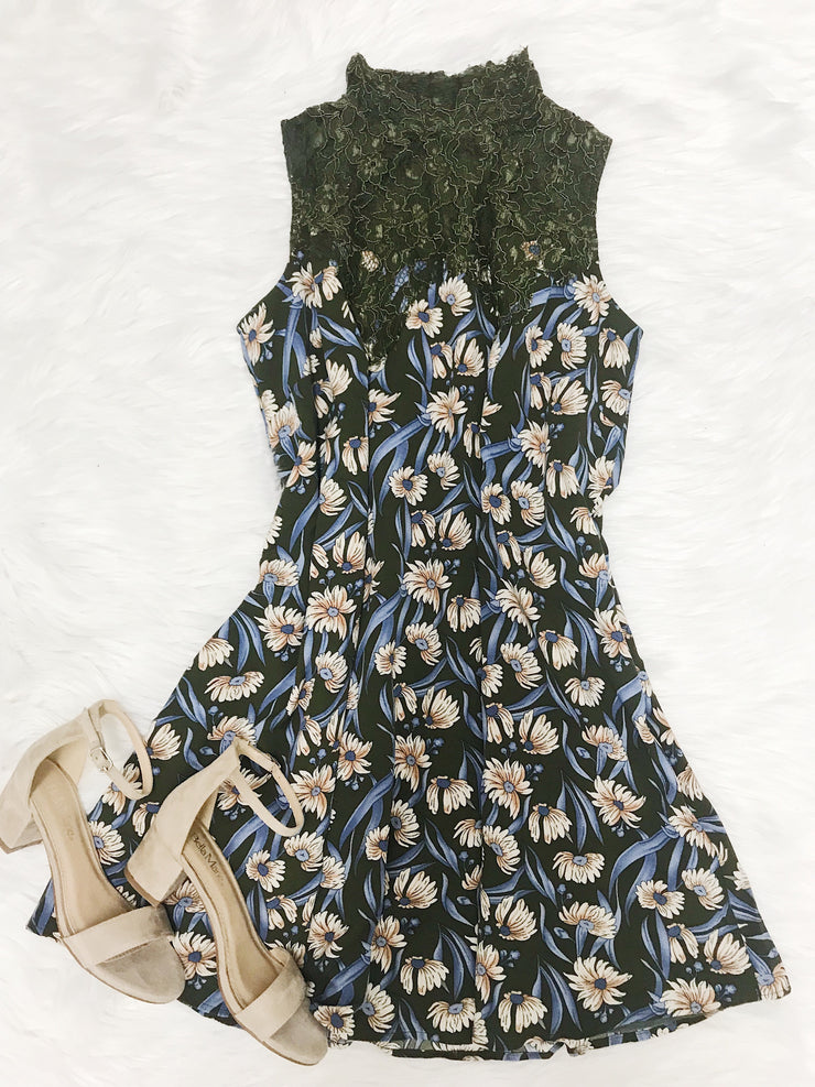 Always The Fun One Floral Dress Olive - Shellsea