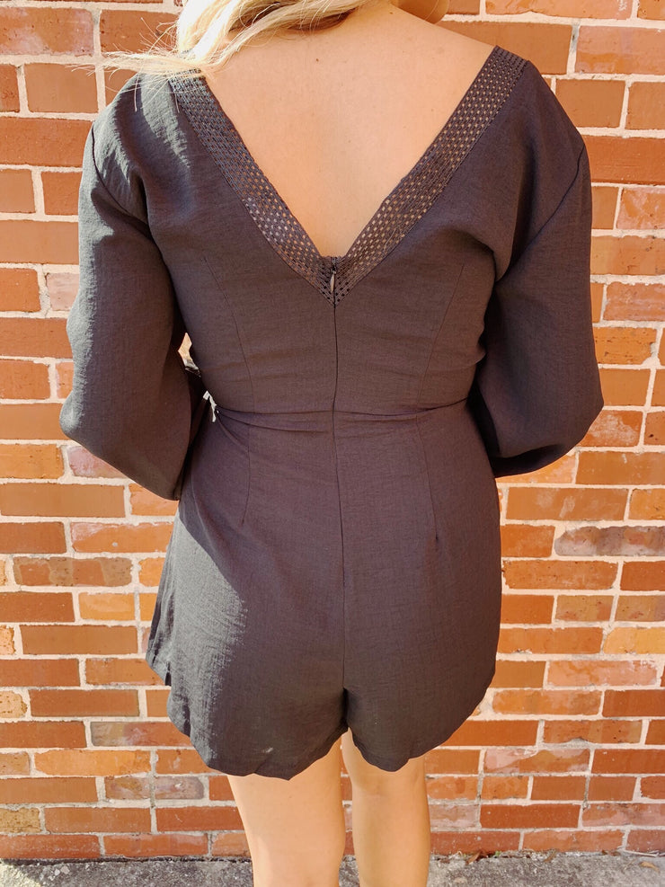 Worth The While Romper Black