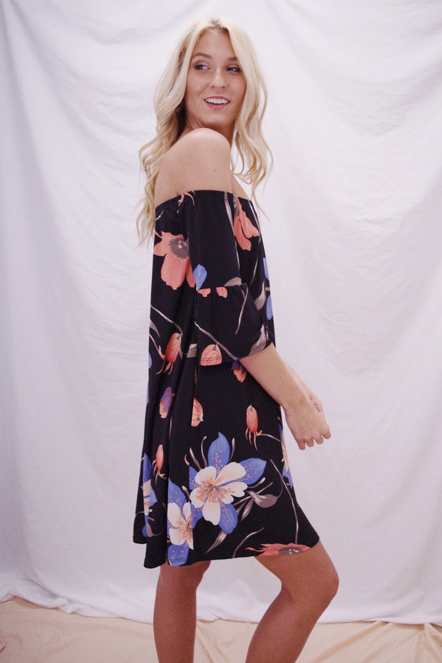 Summer Nights Floral Dress Black