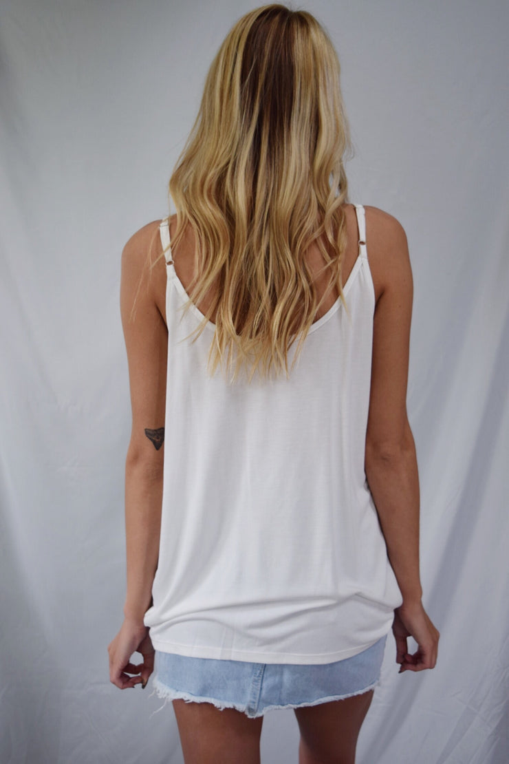 Taking A Cowl Tank Top Ivory