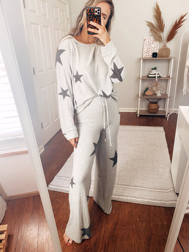 Up To Star Long Sleeve Top Grey