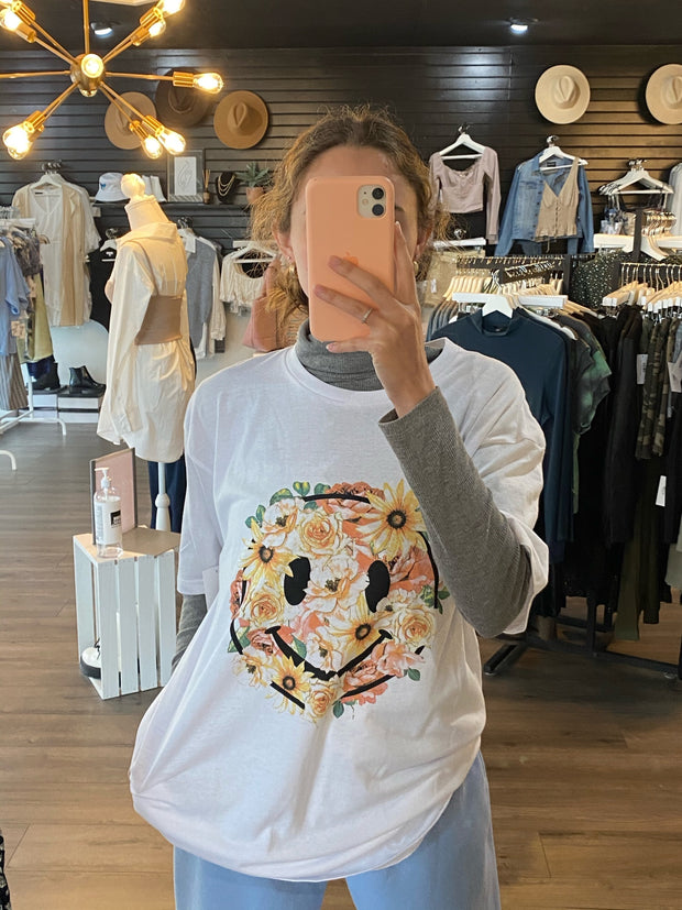 Floral Smiley Graphic Tee White