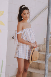 Hot Stuff Striped Romper Taupe
