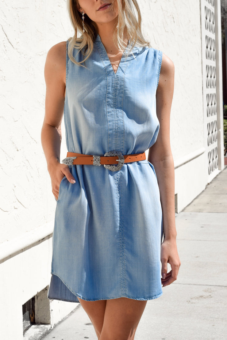 Dream In Denim Sleeveless Dress - Shellsea