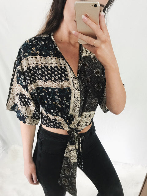 Patterned Tie Top Navy