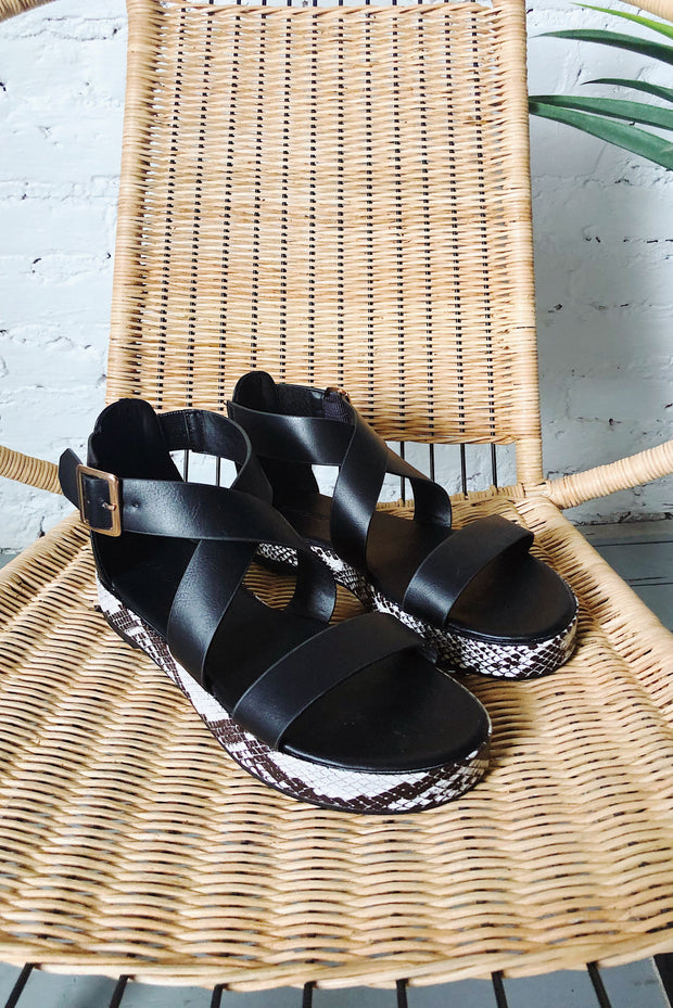 Well-Stepped Snake Sandals Black