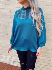Lace To The Finish Top Teal