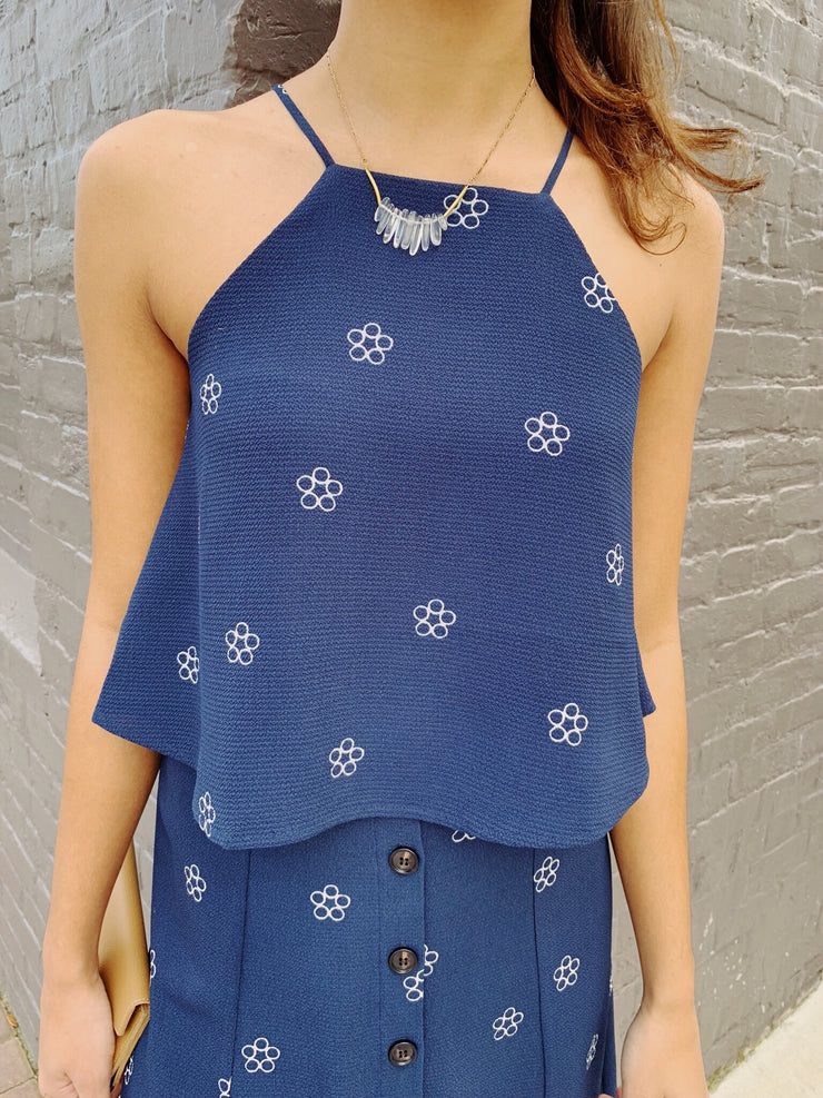 Making Me Daisy Top Navy