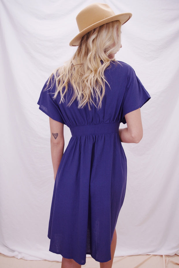Airy Attendee Linen Dress Navy - Shellsea