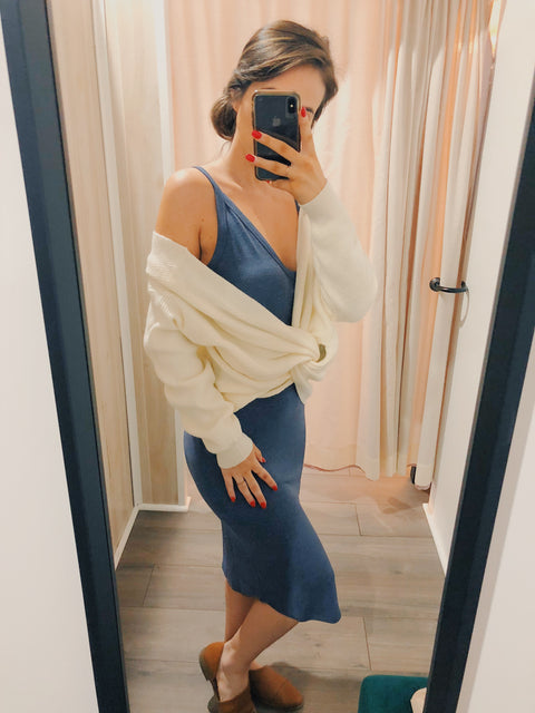Living On A Layer Midi Dress Navy