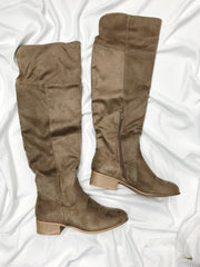 A Step Forward Knee High Boots Taupe - Shellsea