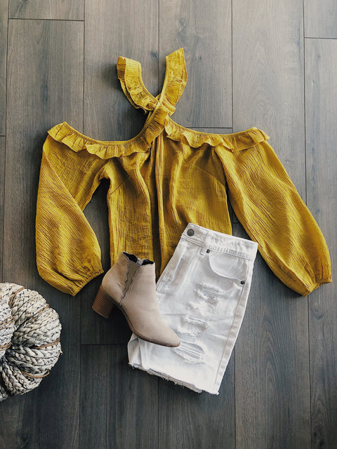 One Way Halter Top Mustard