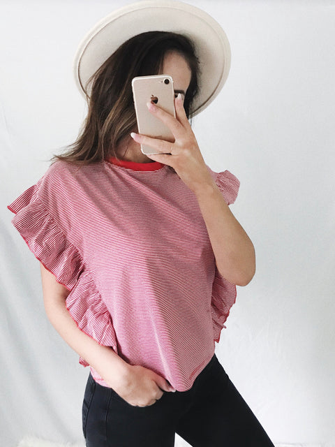 American Frill Striped Top Red