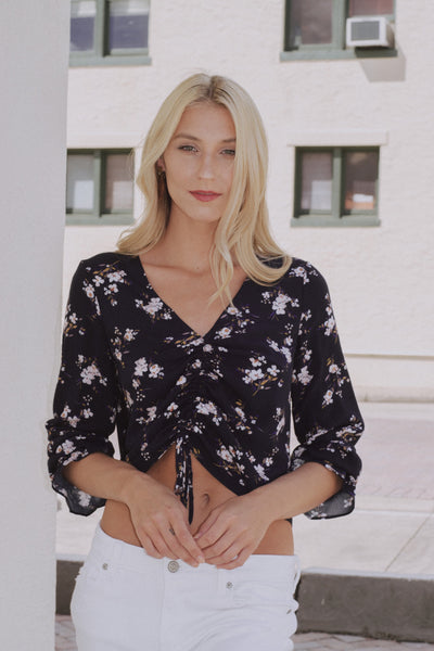 Anything Pose Top Navy Floral - Shellsea