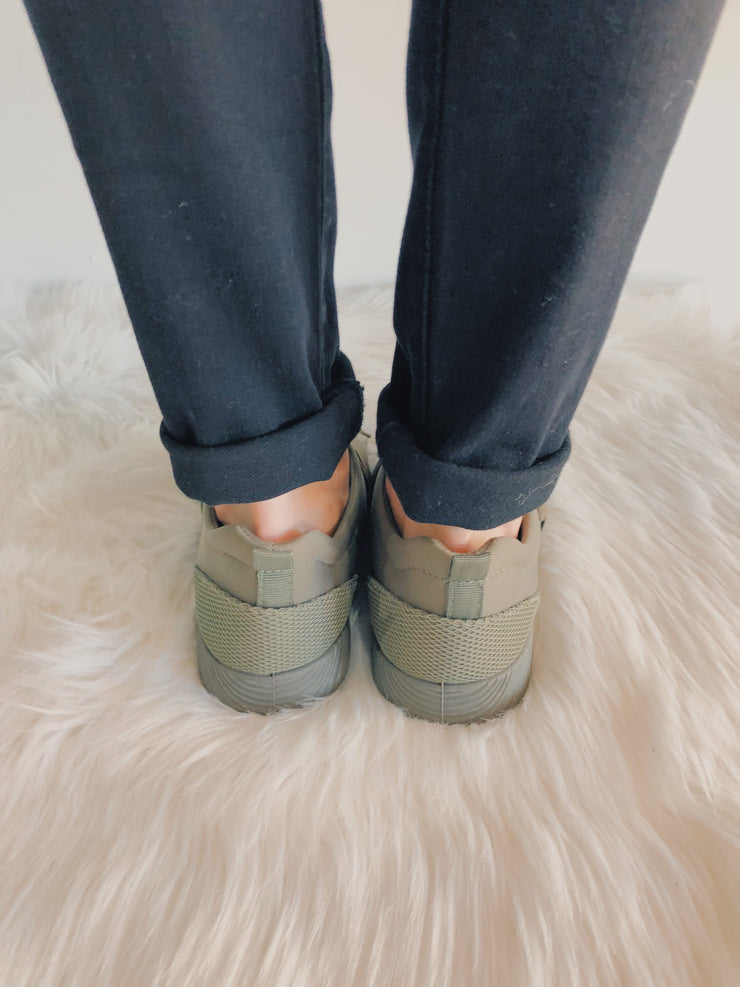 Don't Mesh With Me Sneakers Olive - Shellsea