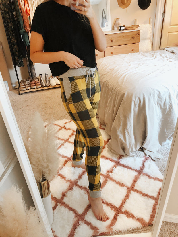 I Got It Plaid Joggers Mustard