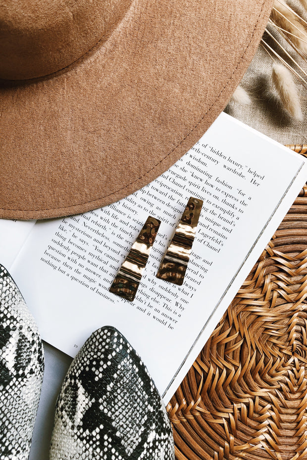 Crinkled Bar Earrings